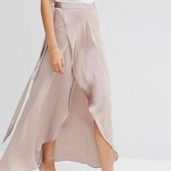 87d91eb9761 ASOS Blush Satin High Waist Wrap Maxi Skirt